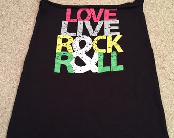 Love, Live, Rock & Roll upcycled market bag