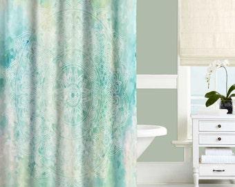 Aqua Shower Curtain, Blue, Turquoise, Mint Bathroom Decor, Bathroom Curtains, Mandala Shower Curtain, Designer Shower Curtain, 71x74
