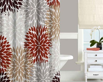 Chrysanthemum Shower Curtain, Floral, Dahlia Shower Curtain, Brown, Red,  Taupe,