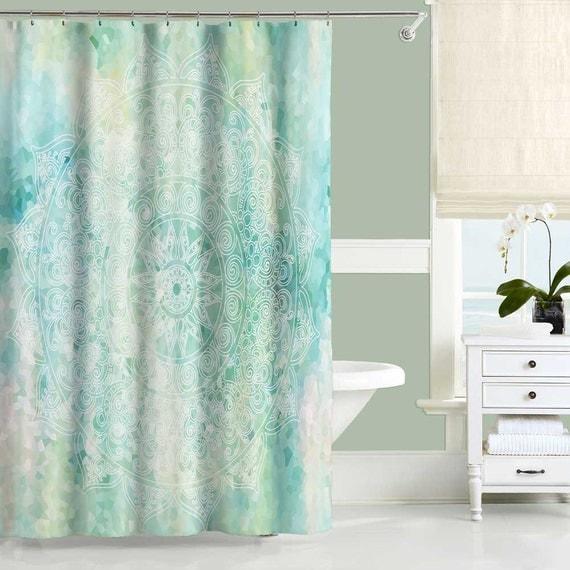 aqua shower curtain blue turquoise mint bathroom decor