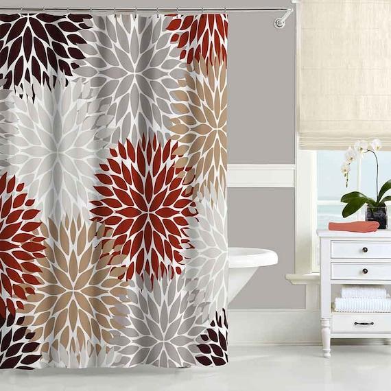 Chrysanthemum Shower Curtain Floral Shower Curtain Brown