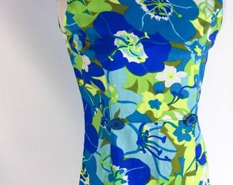 Vintage Dress Hawaiian Dress Tropical Flower Dress Blue Green Dress 1960s Dress Bright Floral Dress Summer Dress