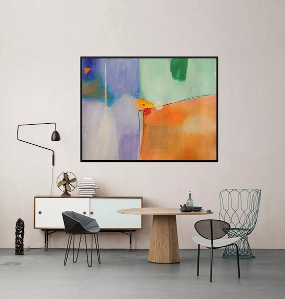 Modern artwork green orange purple white abstract art big for Orange and purple walls