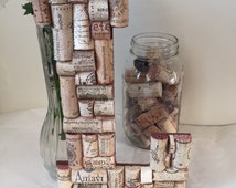 Wine Cork Letter  L;Cork Letter L;Home Decor; Wedding/Vineyard/Winery decor; Bridal shower gift; Home&Living