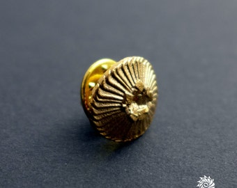 Plankton Coccolithus - Coccolithophore Lapel Pin- Marine Biology - Science Jewelry in bronze, brass & silver