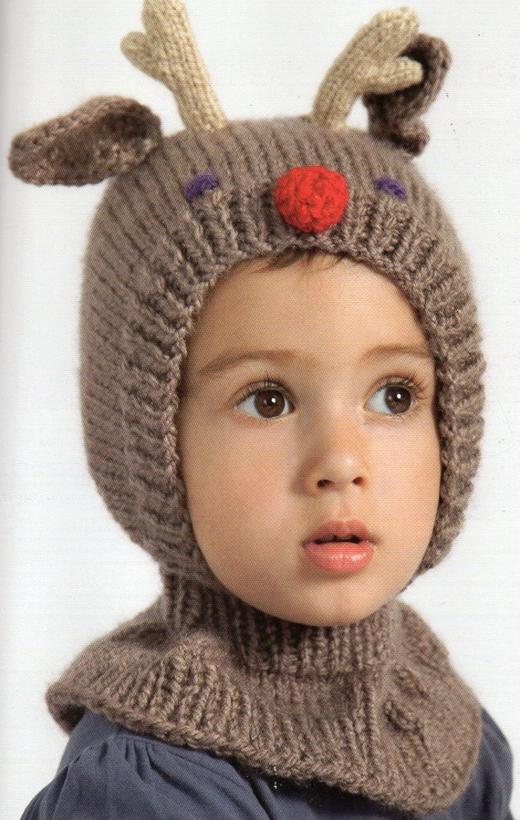 Reindeer Antlers Hat and Mittens Knitting Pattern Baby Child