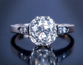 Antique 2.76 Ct Cushion Cut Diamond Engagement Ring