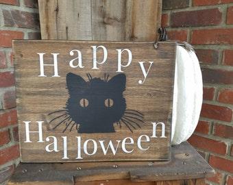 Happy Halloween Sign. Halloween, halloween decor, black cat sign, fall decor, cat decor, cat halloween decorations, cat sign, cat wood sign