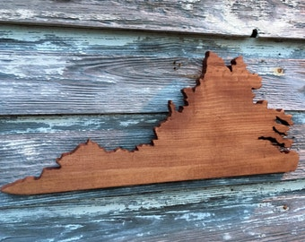 Wood Virginia Sign - VA State Cutout