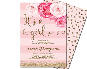 It's a girl baby shower invitation, blush pink & gold glitter baby shower invitation, pink floral baby shower invite