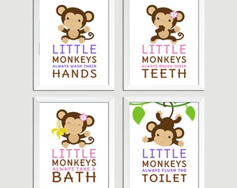 Little monkeys bathroom rules, Monkeys Nursery Decor, Kids Bathroom decor, Custom Colors, Instant Download