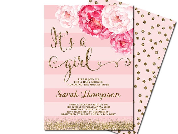 Terrible image regarding printable girl baby shower invitations