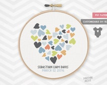 COLORFUL HEARTS BIRTH record counted cross stitch pattern. new baby boy announcement, personalized pink heart newborn xstitch shower gift