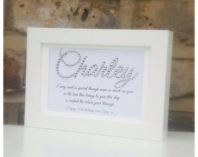 Personalised crystal Name frmaed print | Quote framed print | Auntie/Aunty, Mum, Nan, Gran or any member of your family or friends