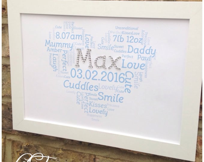 Personalised crystal heart cloud word art for any occasion wedding gifts,  friends, family, chistening, birthdays prints, Mr&Mrs