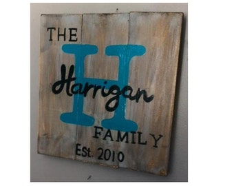 Custom Family name and Est Date wooden wall decor