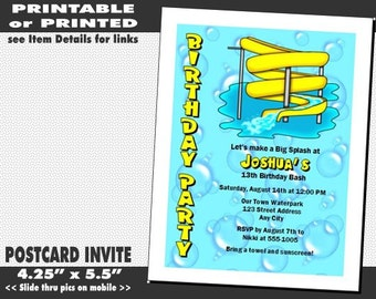Water Park Party Birthday Invitation, Printable with Printed Option, Water Slide Invites, Waterpark Party