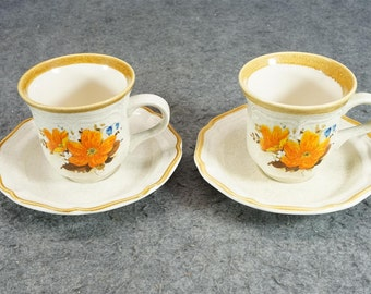 Mikasa Garden Club Flowerfest Cups And Saucers X 2 Cups C. 1970s