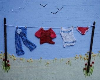 Stumpwork Washing Line Embroidery Kit