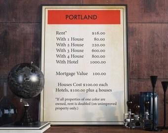 Portland Wall Print| Board Game Wall Art| Monopoly Print| Monopoly Poster| Board Game Poster| Monopoly| Portland Poster| Monopoly Decor