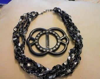 Vintage cloth necklace & scarf/belt cliip