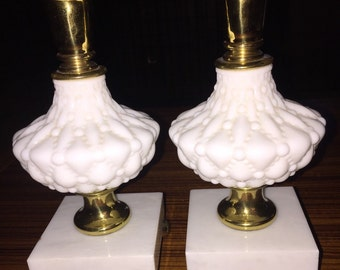 Vintage marble, brass and milkglass candlesticks