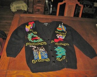 Vintage woman's Ugly Christmas sweater size med-lg  work in progress label very gaudy!!