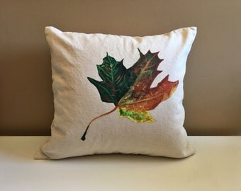Decorative pillow, fall leaf, 16x16, hand painted