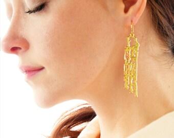 Brass Filigree Earrings, Brass Dangle Earrings, Seashell Earrings, Ocean Statement Earrings, Beach Wedding, Gift, Scroll