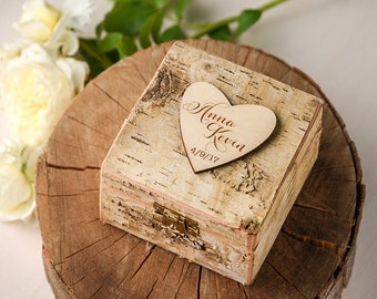 Rustic Wedding Ring Box, Heart Brich Bark Box, Engraved Wood Wedding Box, Wodden Ring Box, Custom Wedding Ring Holder Wood Ring Bearer