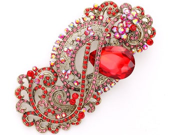 Red Brooch, Ruby Red Broach, Red Brooches, Victorian Style Jewelry