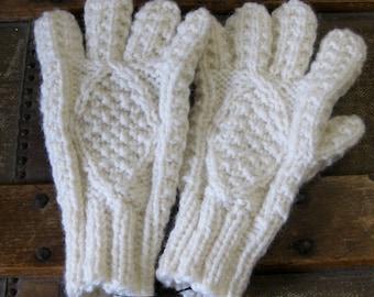 Childrens Aran Gloves   Irish Kids Gloves   Handknit Kids Wool Gloves   Warm Wool Gloves for Children