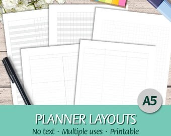 A5 - EN - Printable Planner Layouts Bundle - Grid, Yearly, Monthly, Weekly and Daily Planner, No Text - Printable Planner Insert, PDF