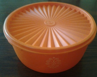 Orange Tupperware Servelier Canister With Lid