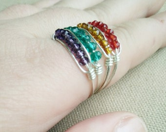 Crystal Stack Ring - Crystal Midi Ring - Colourful Stack Ring - Silver MidiRing- Simple Ring - Cute Stack Ring- Gift For Her- Womens Gift