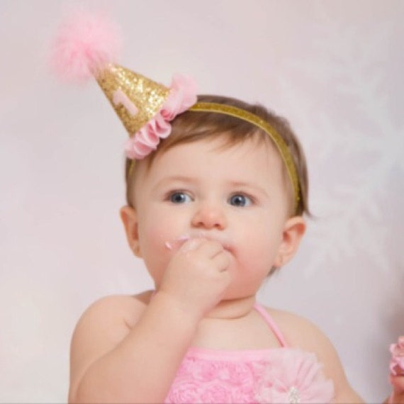 Mini Pink And Gold Flower Party Hat Headband By KenzeesKloset