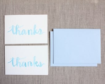 Thank You Cards - Blue Brush Lettering