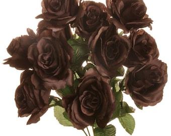 """New Silk Chocolate Rose Bush, 12 Brown Roses 3.5"""" in diameter,  Fake Chocolate Roses"""
