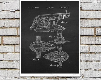 Star Wars print #13 Slave One Spaceship Patent Poster, Star Wars Decor, Star Wars Boys Room Decor,  Star Wars Gift for Kids, Sci-Fi decor