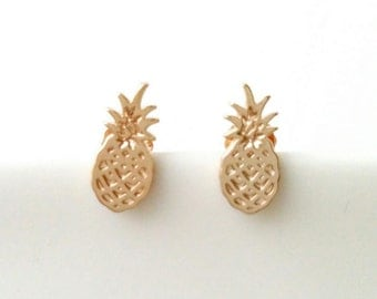 Pierced earrings gold plated pineapple 750 - 750, ground pineapple - gold plated 750 gold plated chips earrings earings