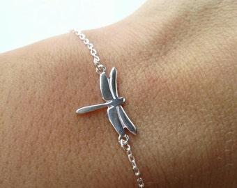 Bracelet silver Dragonfly 925/000 - adjustable size - solid silver bracelet 925 - Dragonfly jewelry - Bracelet 925 silver sterling