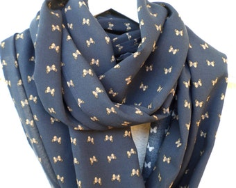 Infinity Scarf, Deep blue scarf, Butterfly scarf, Dark blue and yellow-beige scarf