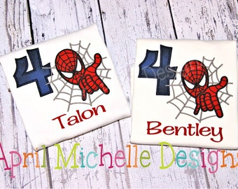Spiderman Birthday Shirt, Personalized Spiderman, Boys Appliqued Shirt, Boys Birthday Shirt, short sleeve spiderman