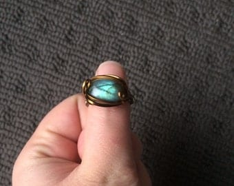 REDUCED ~ Handmade Blue Labradorite Wire Wrapped Ring ~ Size: J/5