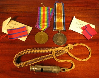 WW1 Vintage British Army BMBR J.L. Williams Royal Artillery Regiment Medal Pair Ribbon ACME Whistle