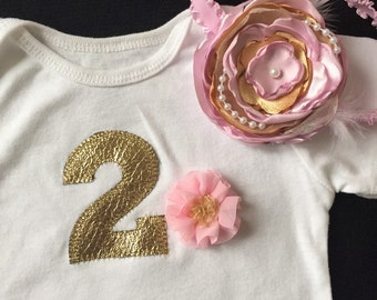 Birthday Onesie/ Onesie With Matching Flower Head band/ 2nd Birthday Girl Outfit/ Pink and Golden birthday Outfit
