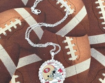 San Francisco 49ers Inspired Rhinestone Necklace NFL Football Team Charm Jewelry Swag - San Fran 49 Bling Chain Pendant Fan Gear