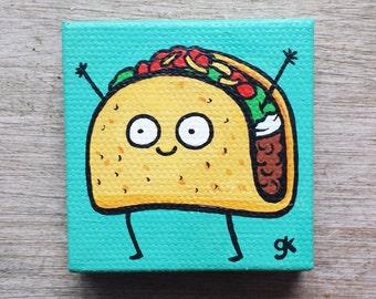 "Super Mini Cartoon Taco Painting (2"" x 2"")"