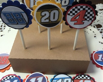 Just 12 Race Car Driver Cupcake Toppers, Pick your driver!