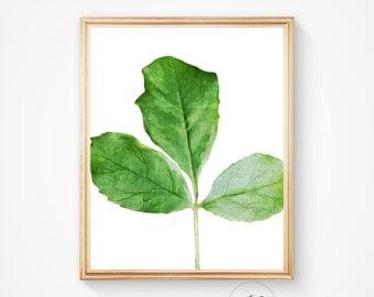 Nature, modern art, leaf print, leaf, leaves print, wall print, minimalist art, botanical print, instant download, green print, botanical